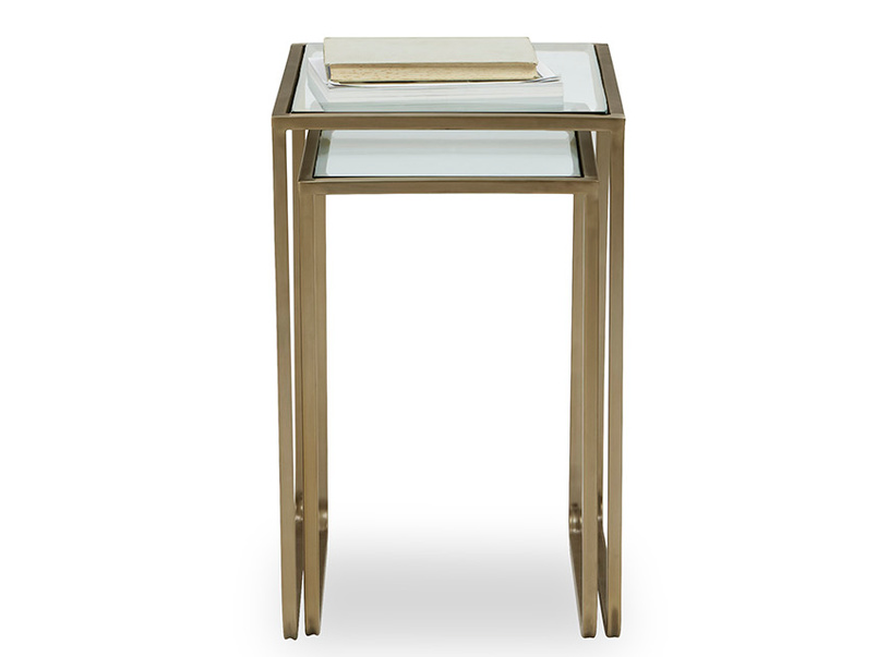 Shimmy Brass and Glass Side Table Nest