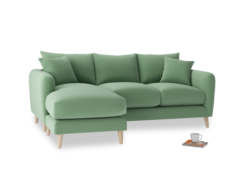 Large left hand Squishmeister Chaise Sofa in Thyme Green Vintage Linen