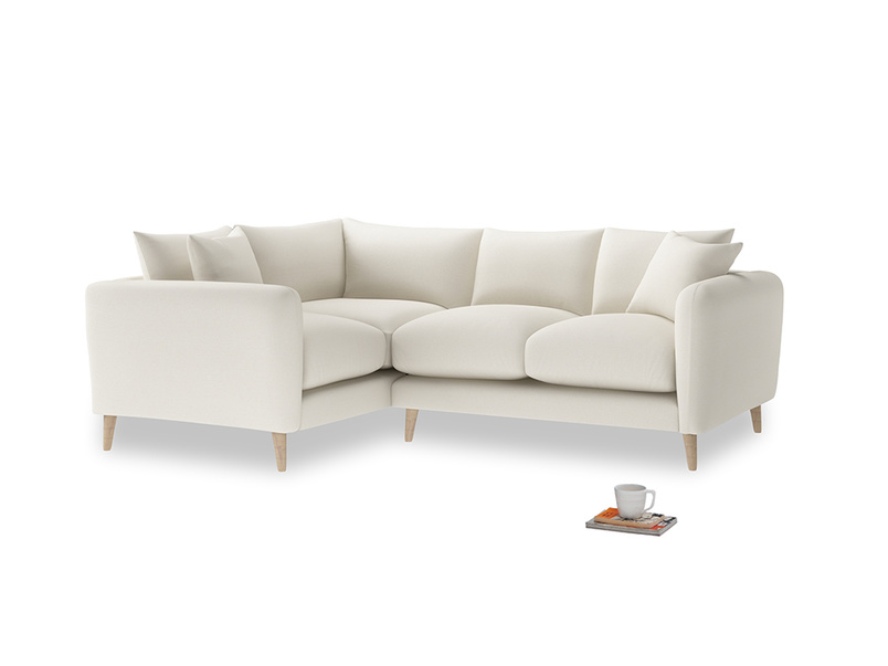 Large Left Hand Squishmeister Corner Sofa in Chalky White Clever Softie