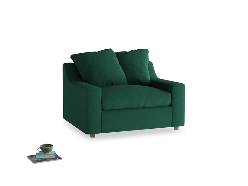 Cloud love seat sofa bed in Cypress Green Vintage Linen