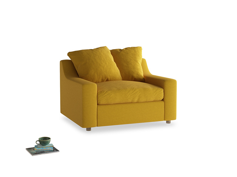 Cloud love seat sofa bed in Yellow Ochre Vintage Linen
