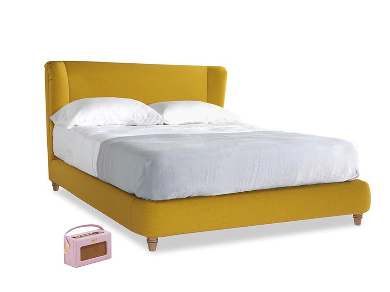 Kingsize Hugger Bed in Yellow Ochre Vintage Linen
