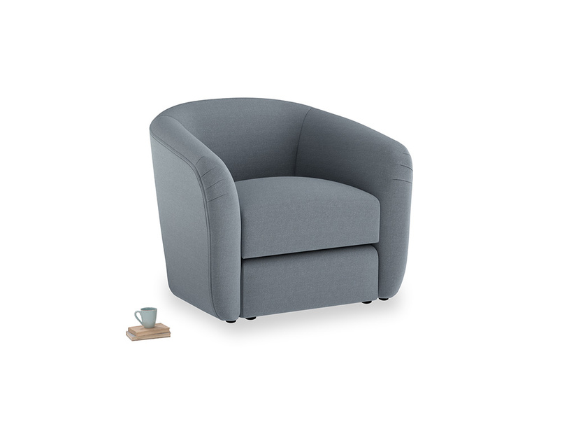 Tootsie Armchair in Blue Storm washed cotton linen