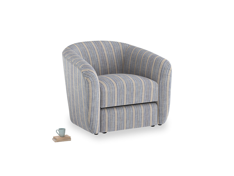 Tootsie Armchair in Brittany Blue french stripe