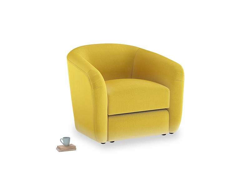 Tootsie Armchair in Bumblebee clever velvet