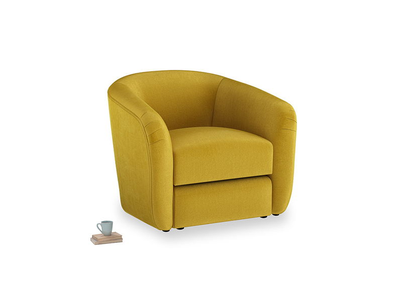 Tootsie Armchair in Burnt yellow vintage velvet