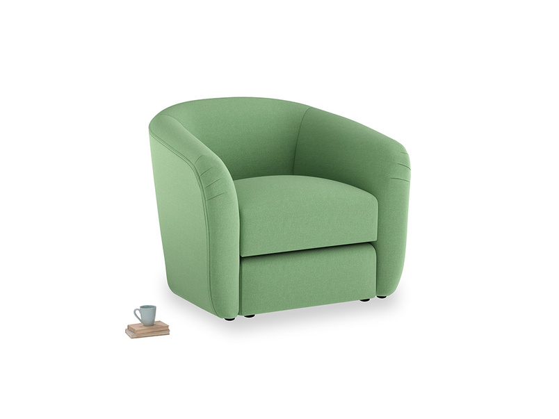 Tootsie Armchair in Clean green Brushed Cotton