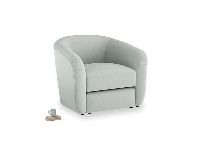 Tootsie Armchair in French blue brushed cotton