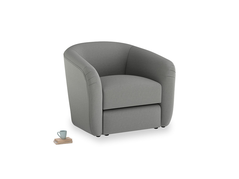 Tootsie Armchair in French Grey brushed cotton