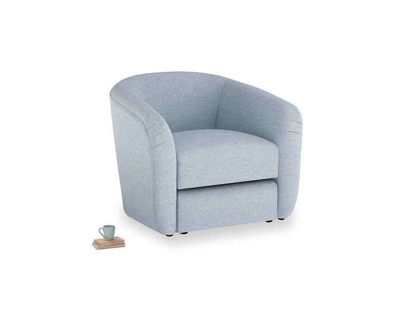 Tootsie Armchair in Frost clever woolly fabric