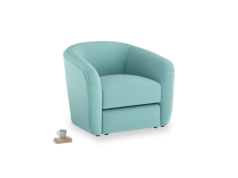 Tootsie Armchair in Kingfisher clever cotton