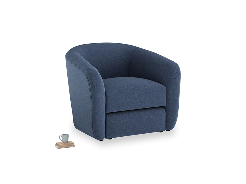 Tootsie Armchair in Navy blue brushed cotton