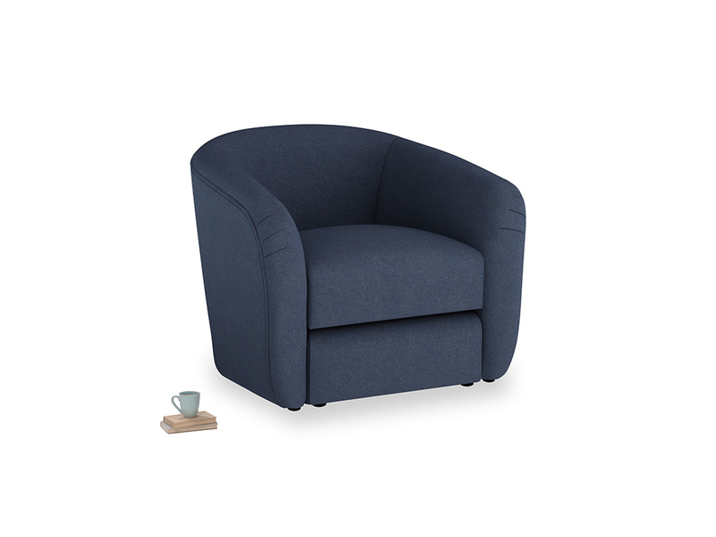 Tootsie Armchair in Night Owl Blue Clever Woolly Fabric