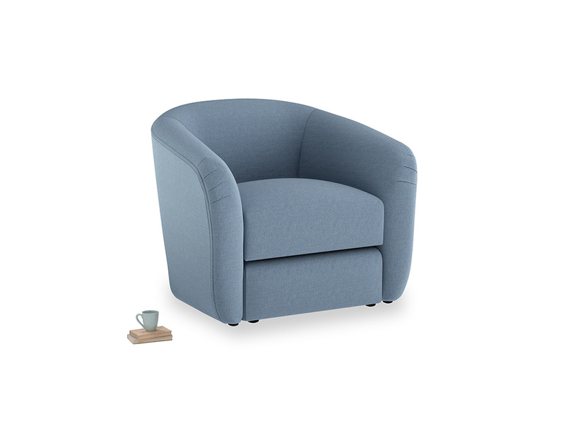Tootsie Armchair in Nordic blue brushed cotton