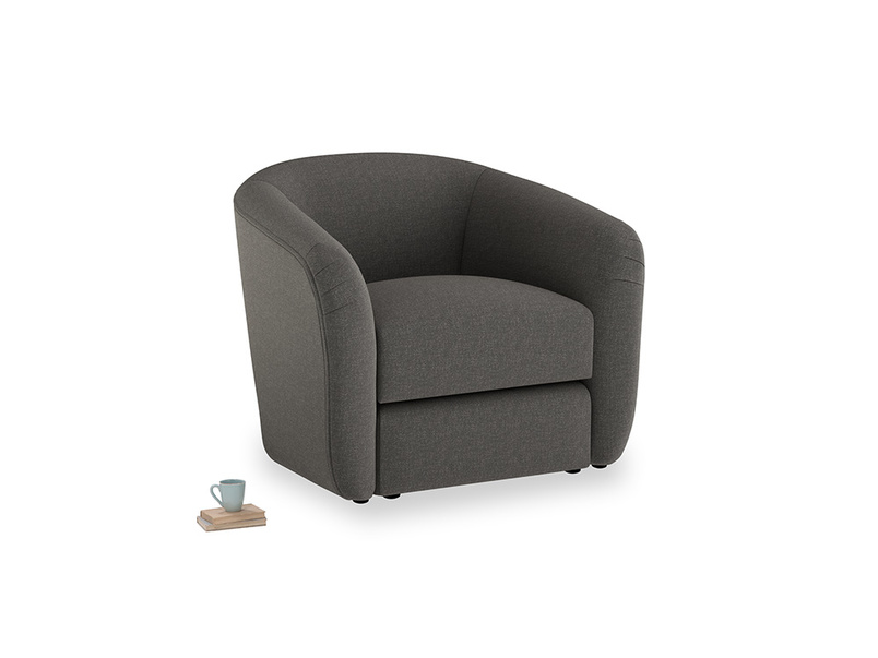 Tootsie Armchair in Old Charcoal brushed cotton
