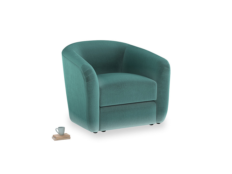 Tootsie Armchair in Real Teal clever velvet