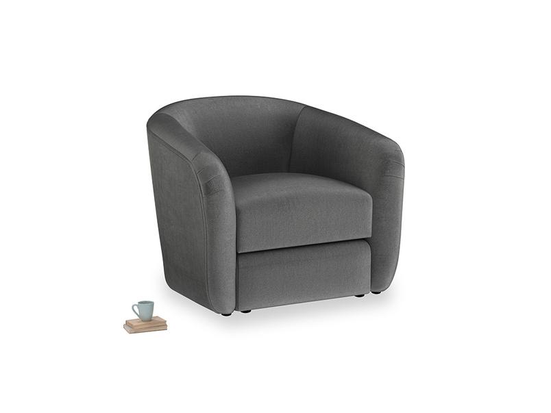 Tootsie Armchair in Scuttle grey vintage velvet