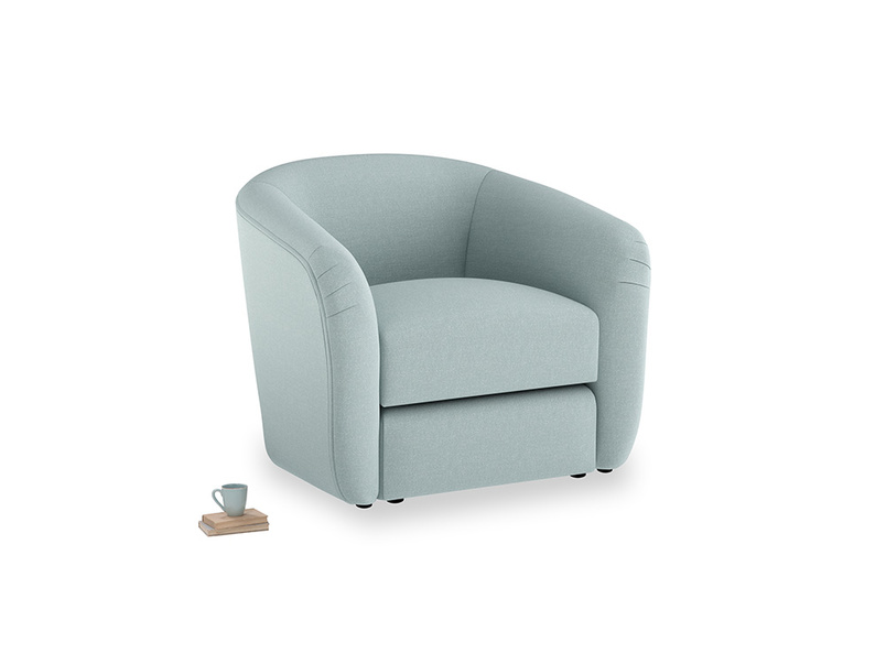 Tootsie Armchair in Smoke blue brushed cotton