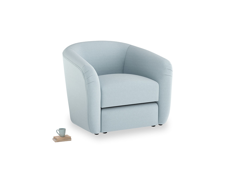 Tootsie Armchair in Soothing blue washed cotton linen