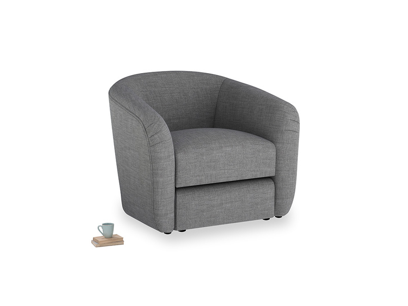 Tootsie Armchair in Strong grey clever woolly fabric