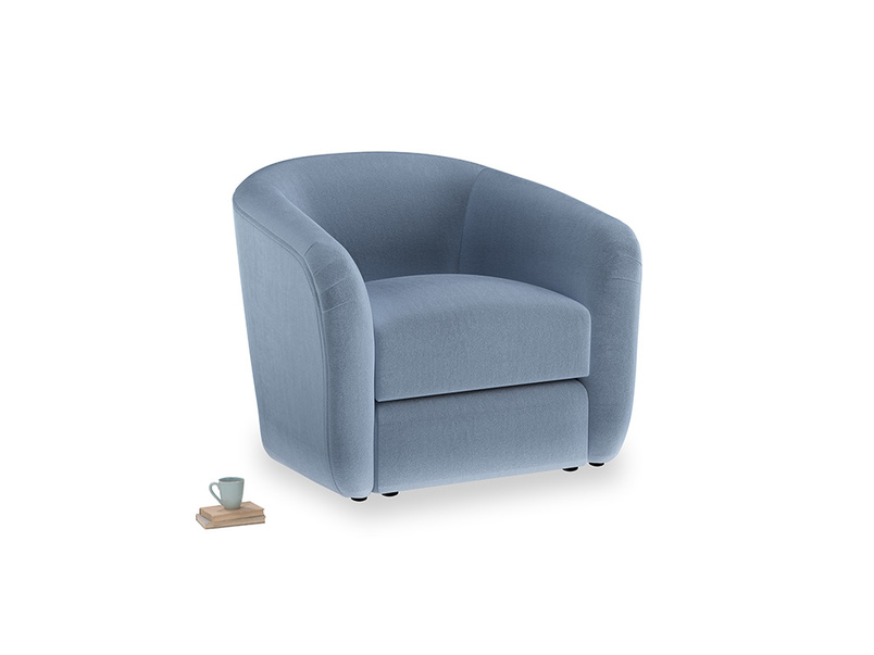 Tootsie Armchair in Winter Sky clever velvet