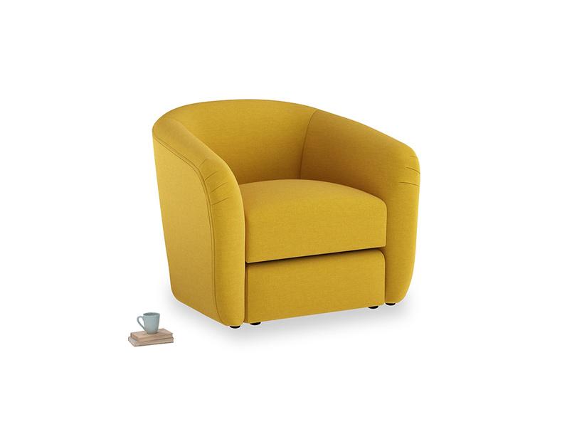 Tootsie Armchair in Yellow Ochre Vintage Linen