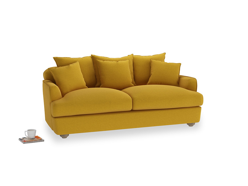 Medium Smooch Sofa in Yellow Ochre Vintage Linen