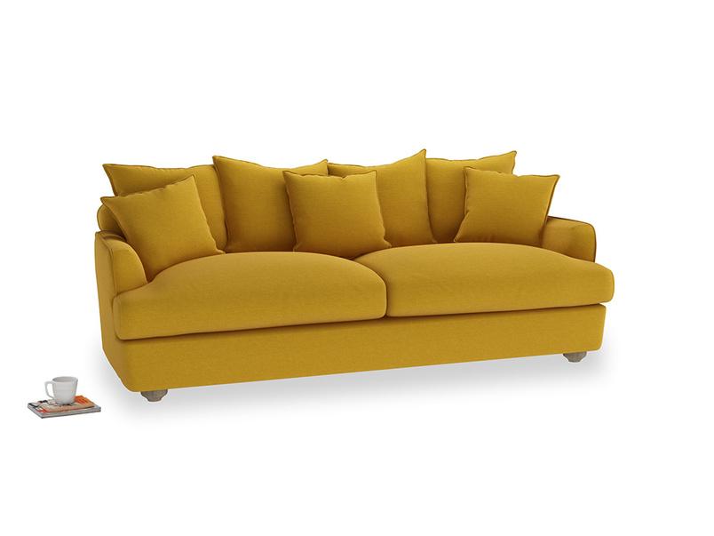 Large Smooch Sofa in Yellow Ochre Vintage Linen