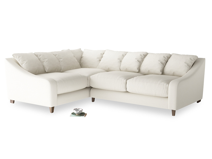 Large Left Hand Oscar Corner Sofa  in Chalky White Clever Softie