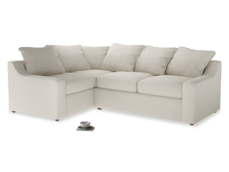 Large Left Hand Cloud Corner Sofa in Chalky White Clever Softie