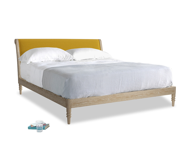 Superking Darcy Bed in Yellow Ochre Vintage Linen