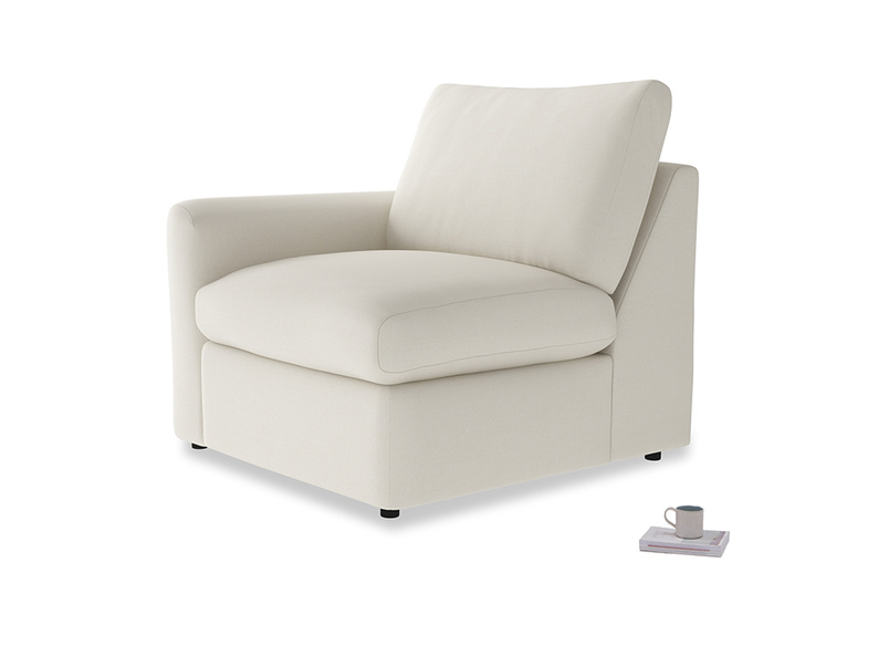 Chatnap Storage Single Seat in Chalky White Clever Softie with a left arm