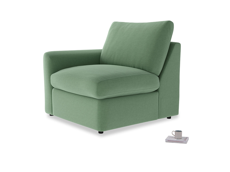 Chatnap Storage Single Seat in Thyme Green Vintage Linen with a left arm
