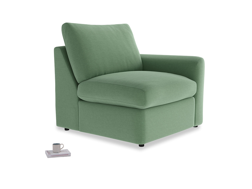 Chatnap Storage Single Seat in Thyme Green Vintage Linen with a right arm