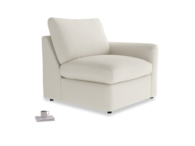 Chatnap Storage Single Seat in Chalky White Clever Softie with a right arm