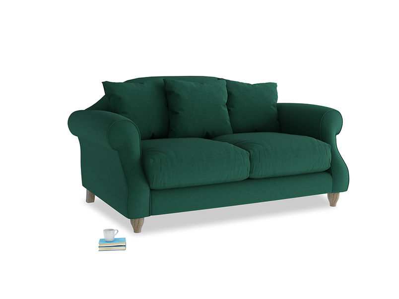 Small Sloucher Sofa in Cypress Green Vintage Linen
