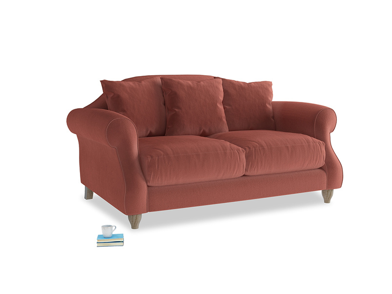 Small Sloucher Sofa in Dusty Cinnamon Clever Velvet