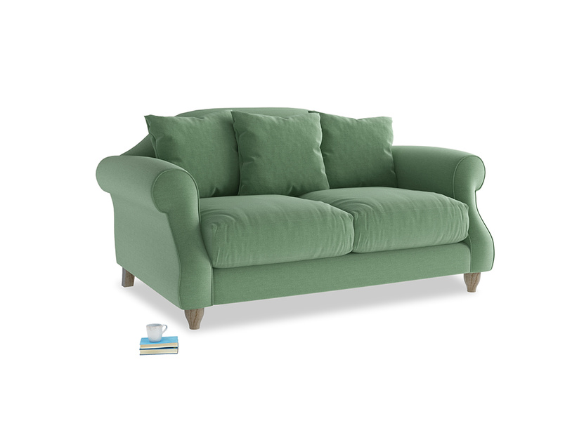 Small Sloucher Sofa in Thyme Green Vintage Linen