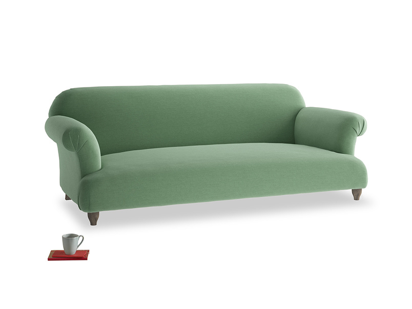 Large Soufflé Sofa in Thyme Green Vintage Linen