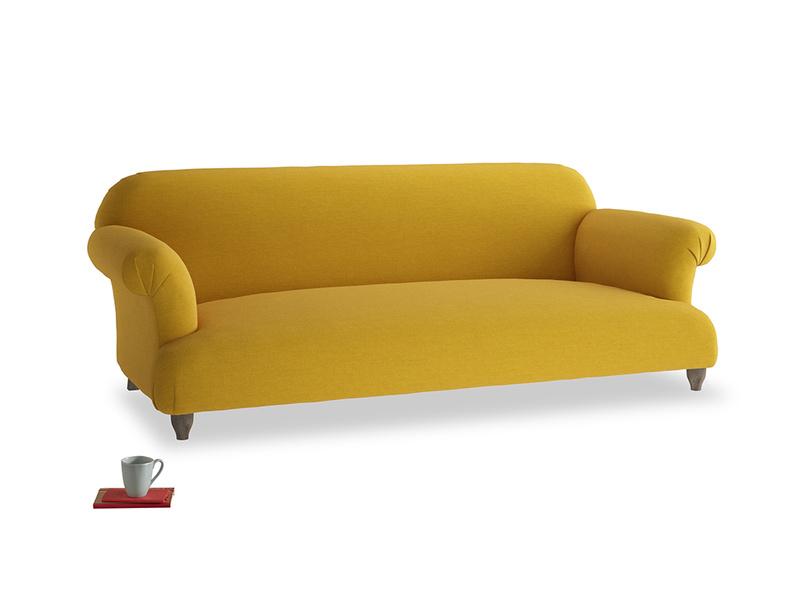 Large Soufflé Sofa in Yellow Ochre Vintage Linen