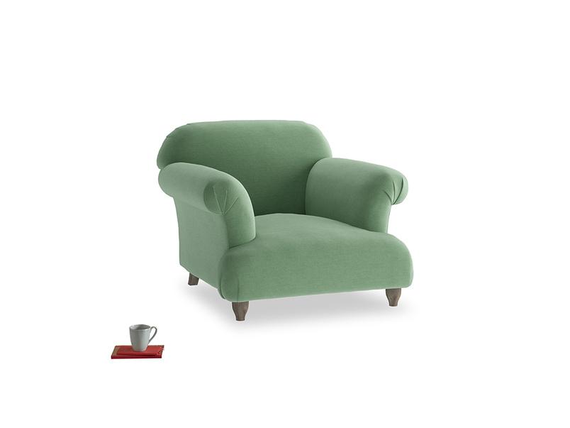 Soufflé Armchair in Thyme Green Vintage Linen