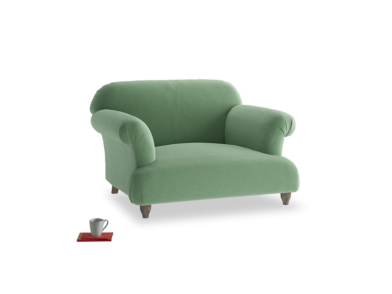 Soufflé Love seat in Thyme Green Vintage Linen