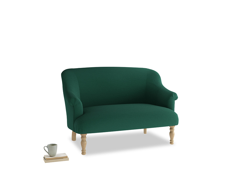 Small Sweetie Sofa in Cypress Green Vintage Linen