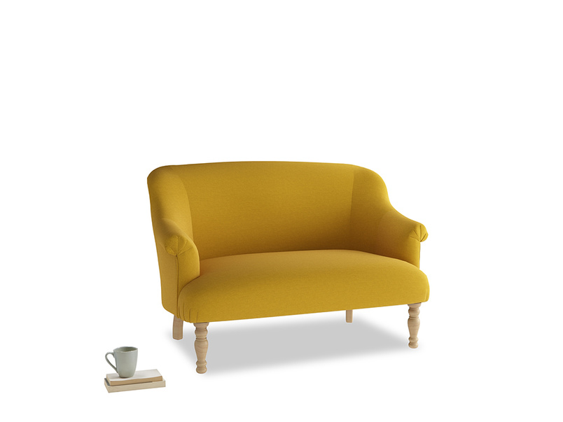 Small Sweetie Sofa in Yellow Ochre Vintage Linen