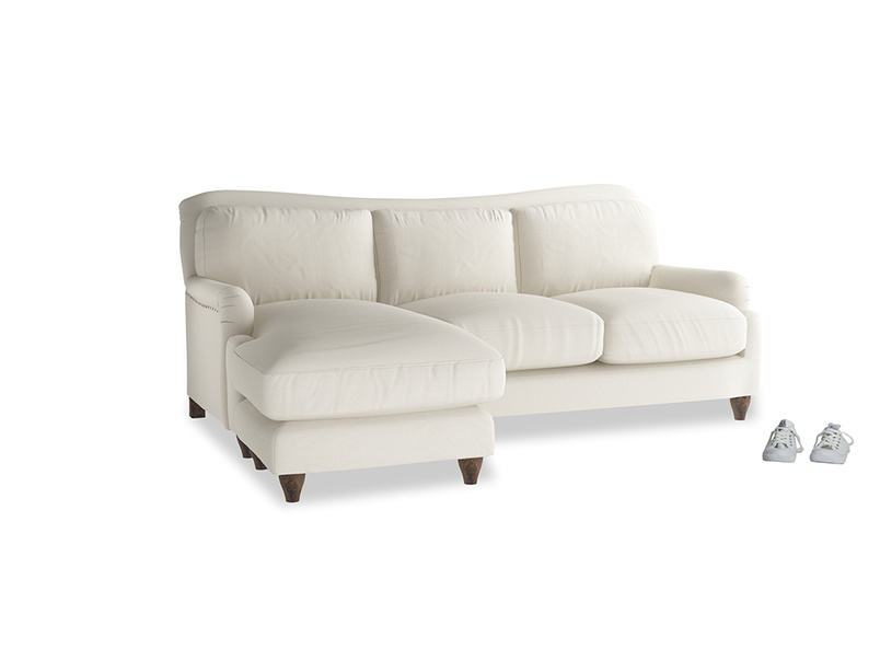 Large left hand Pavlova Chaise Sofa in Chalky White Clever Softie