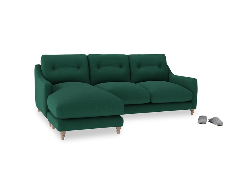 Large left hand Slim Jim Chaise Sofa in Cypress Green Vintage Linen