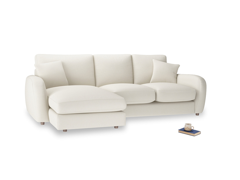 Large left hand Easy Squeeze Chaise Sofa in Chalky White Clever Softie