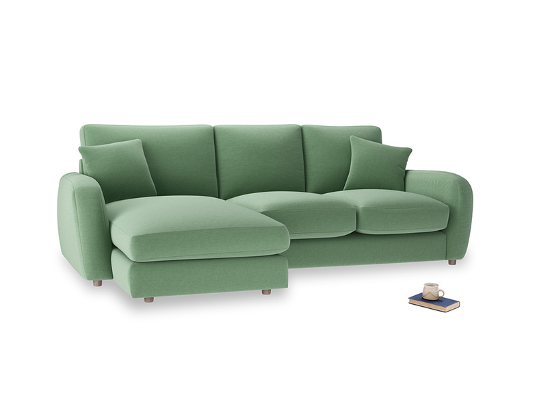 Large left hand Easy Squeeze Chaise Sofa in Thyme Green Vintage Linen