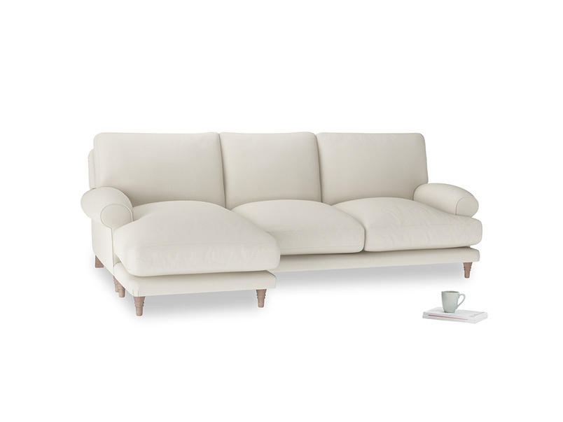 Large left hand Slowcoach Chaise Sofa in Chalky White Clever Softie