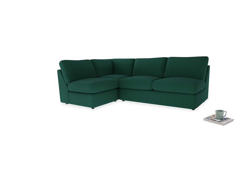 Large left hand Chatnap modular corner storage sofa in Cypress Green Vintage Linen